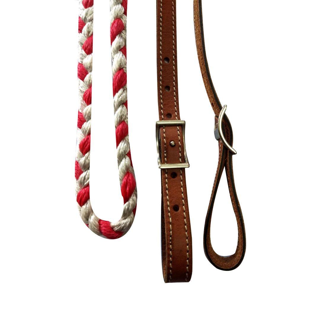 Rédea de Couro e Nylon Branca e Vermelha - 4711