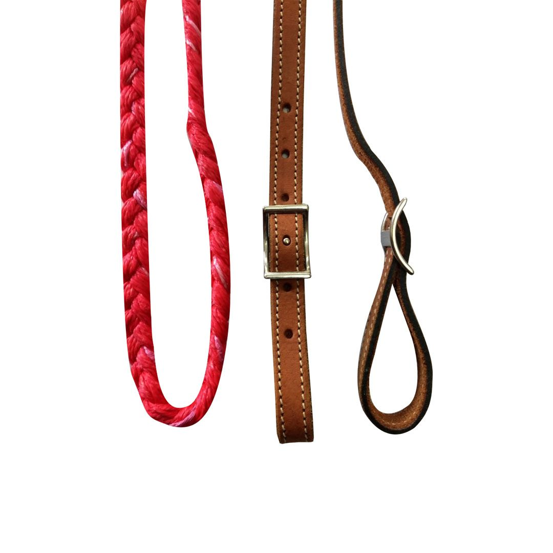Rédea de Couro e Nylon Vermelha - 1079
