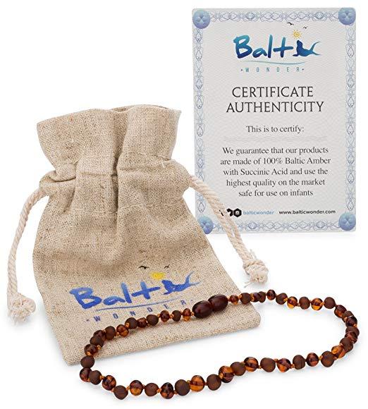 Colar de Âmbar Báltico para Bebê - Cor Conhaque