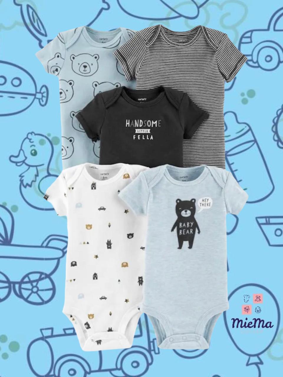 KIT 5 PEÇAS BODY MANGA CURTA CARTER'S® BABY BEAR