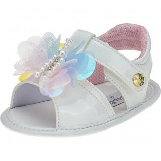 Sandália Baby Menina Fofopé Borboletas Branca