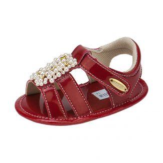 Sandália Vermelha Bebê Menina enfeite Perolas - Itmalia