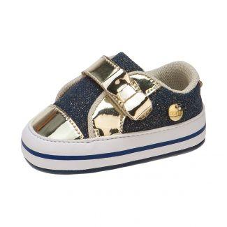 Tênis Revirão  Bebê Menina Azul Jeans e Dourado - Itmalia
