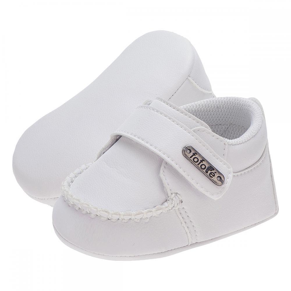 Mocassim Velcro Branco Menino - FOFOPÉ