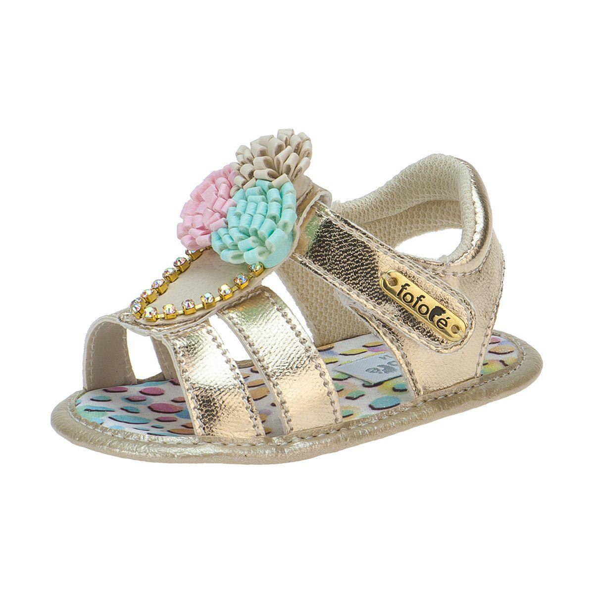 Sandália Baby Menina Dourada - FOFOPÉ