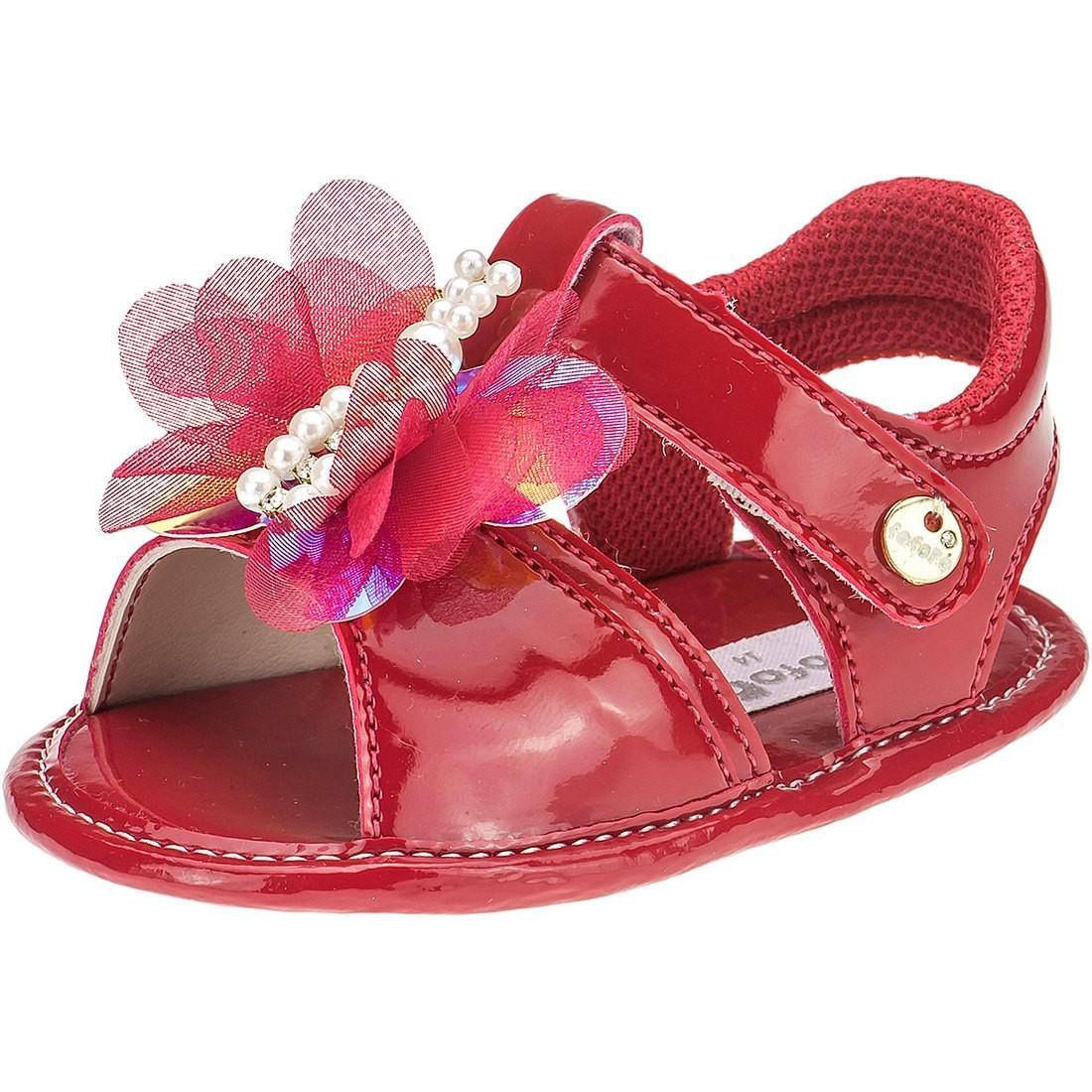 Sandália Infantil Baby Menina Fofopé Borboletas Vermelha