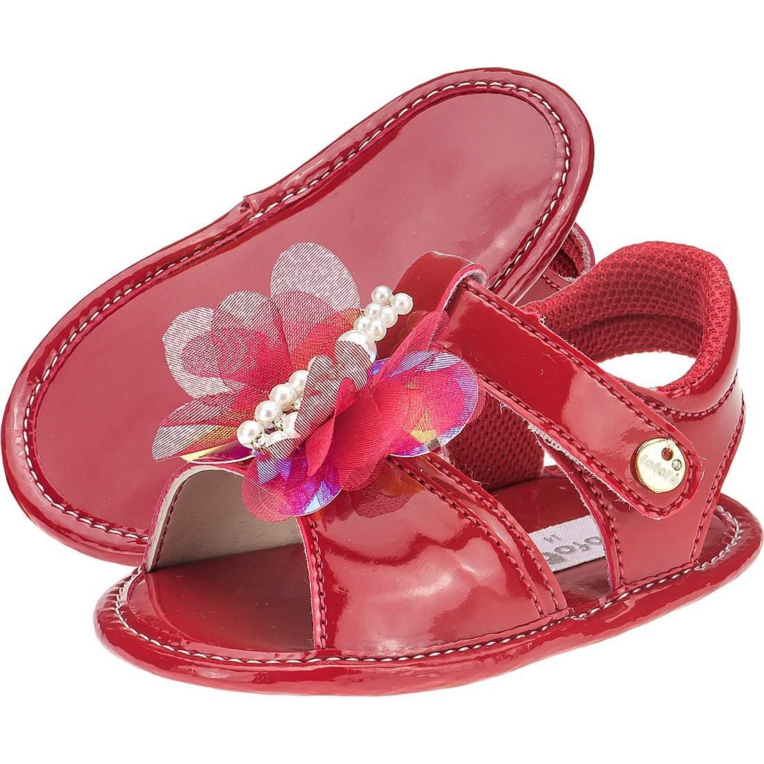 Sandália Baby Menina Fofopé Borboletas Vermelha