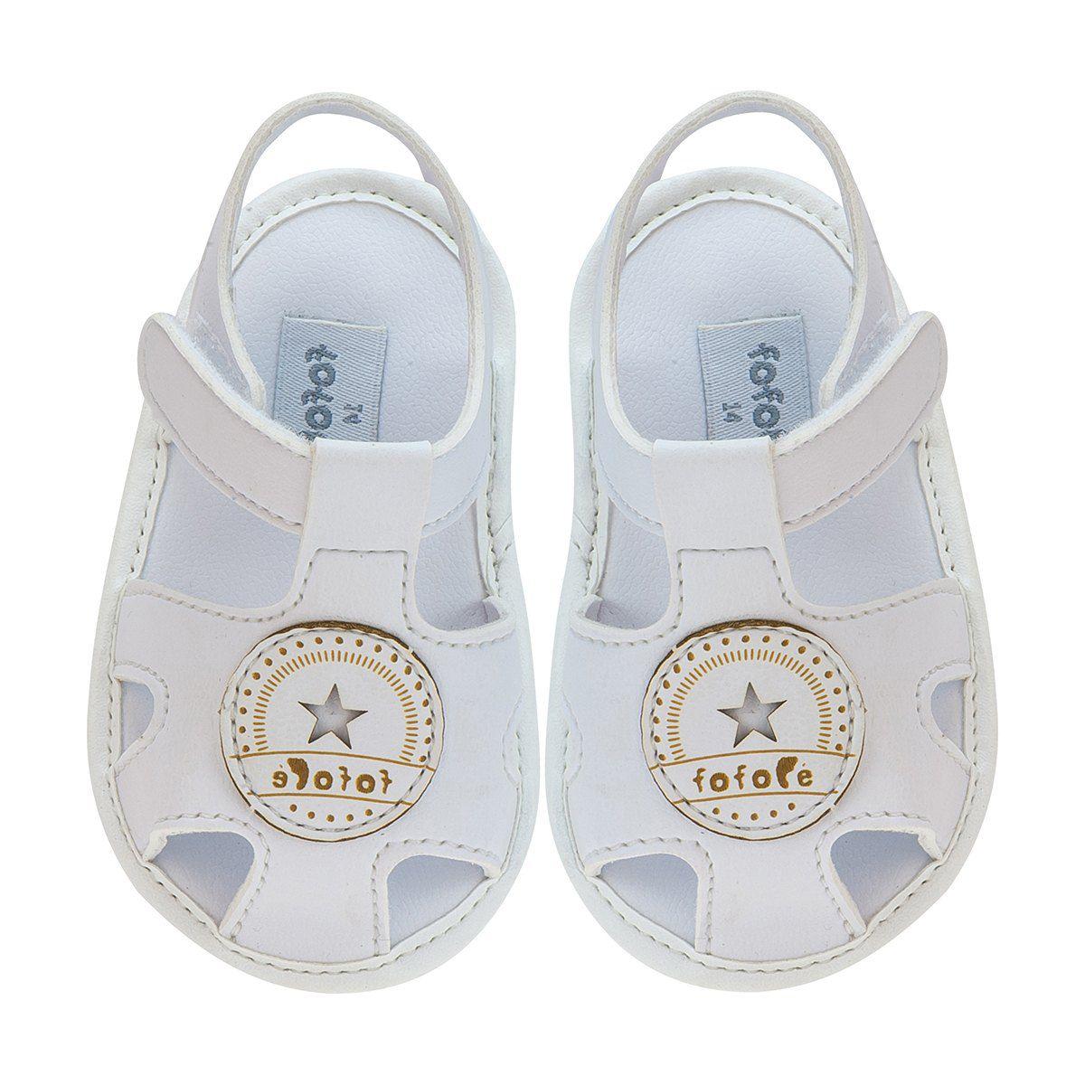 Sandália Bebê Masculina Velcro Branco - FOFOPÉ