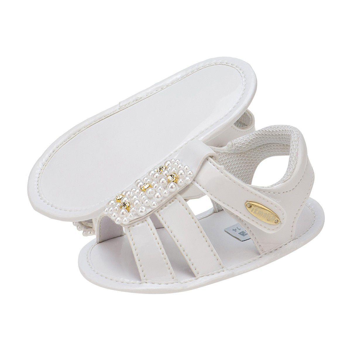Sandália Branca Bebê Menina enfeite Perolas - Itmalia