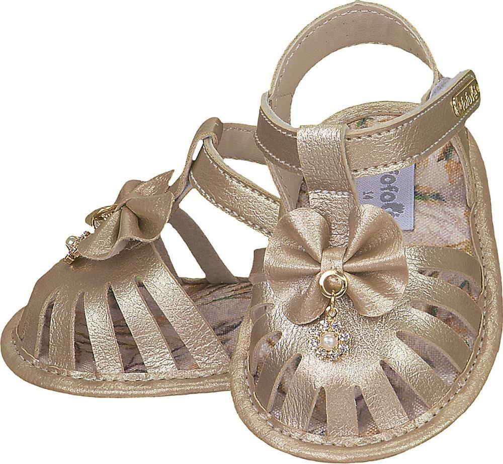 Sandália Dourada Laço Pingente Menina - FOFOPÉ