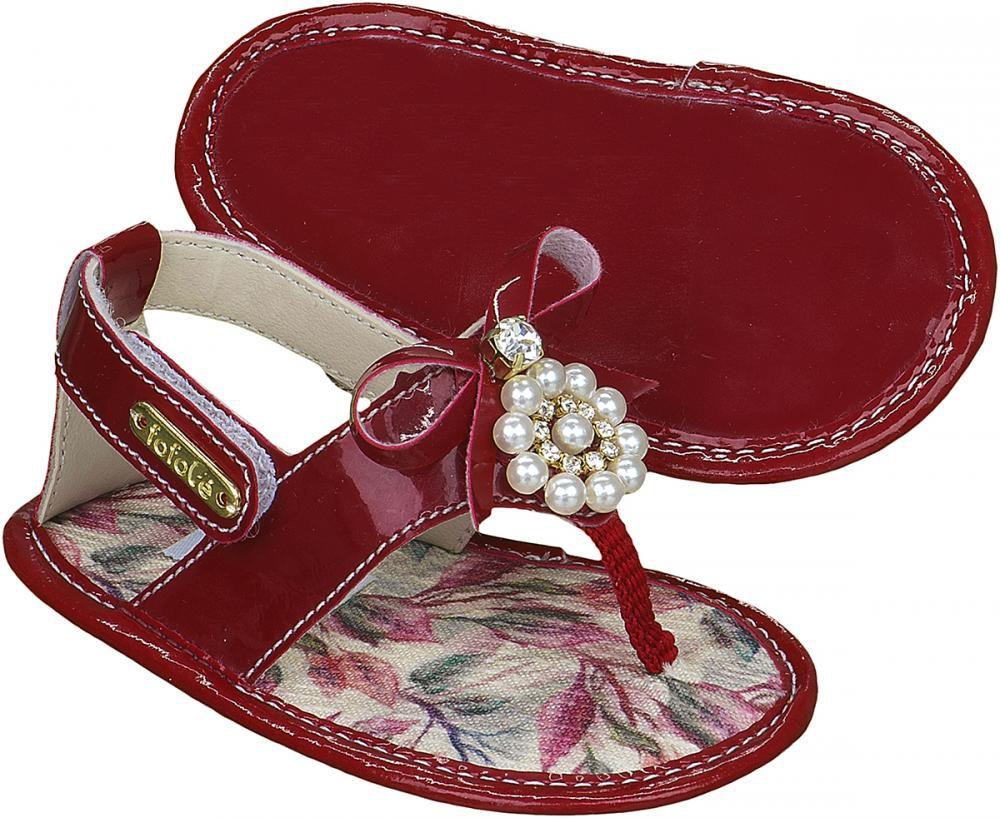 Sandália Vermelha Estampa Pérola Laço Menina - FOFOPÉ