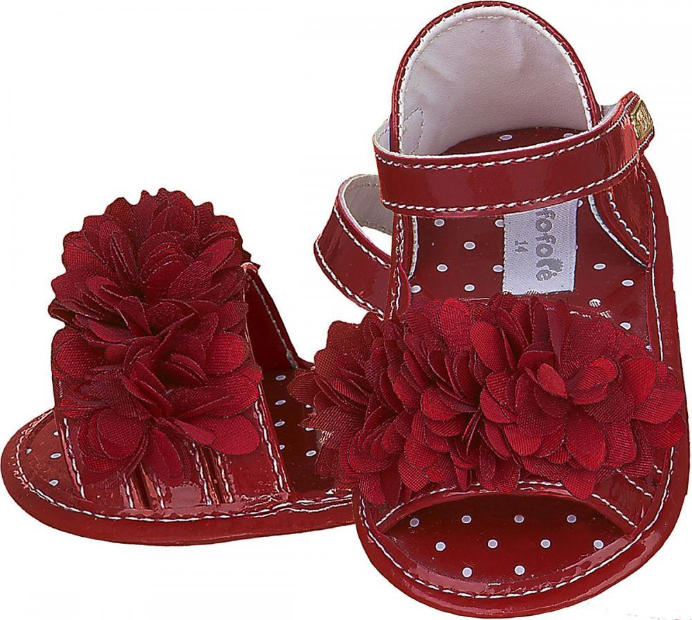 Sandália Vermelha Flor Menina - FOFOPÉ