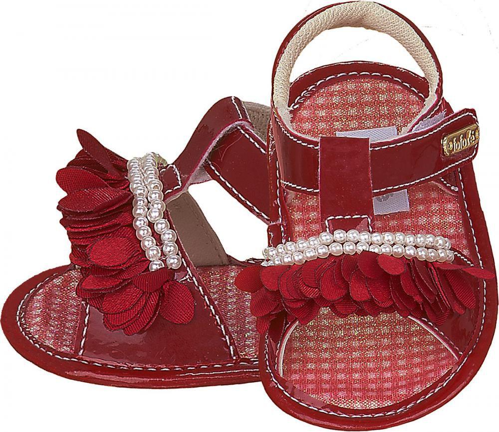 Sandália Vermelha Franja Pérola Menina - FOFOPÉ