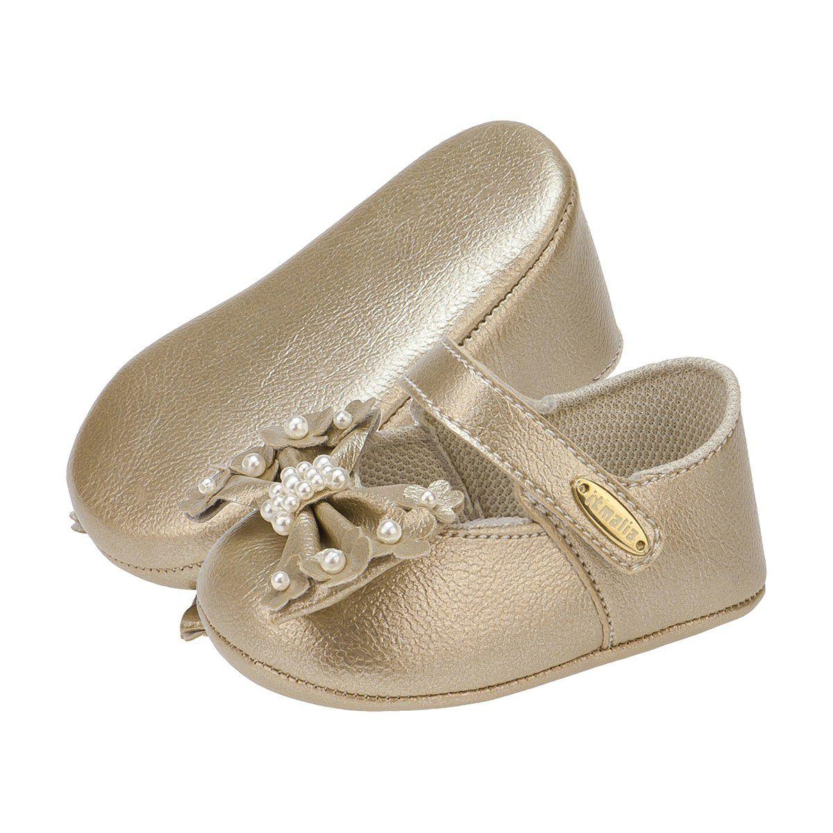 Sapatilha Bebê Menina Laço com Perolas Dourado - Itmalia
