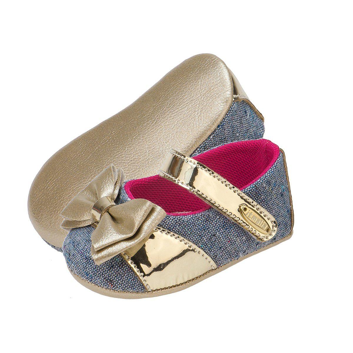 Sapatilha Bebê Menina Tira com Laço Jeans e Dourado - Itmalia