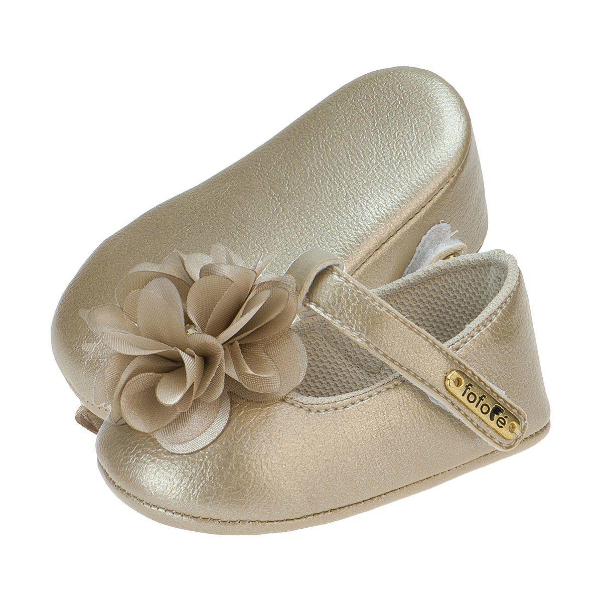 Sapato Boneca Menina Flor Dourada - FOFOPÉ
