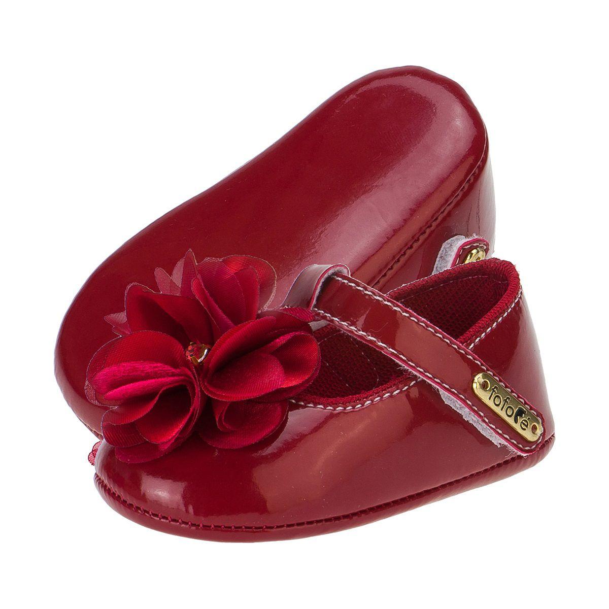 Sapato Boneca Menina Flor Vermelha - FOFOPÉ