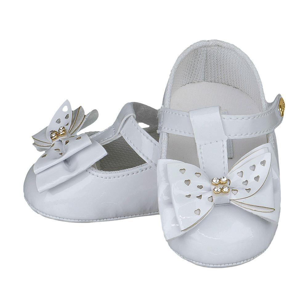 Sapato Boneca Laço Strass Branco - FOFOPÉ