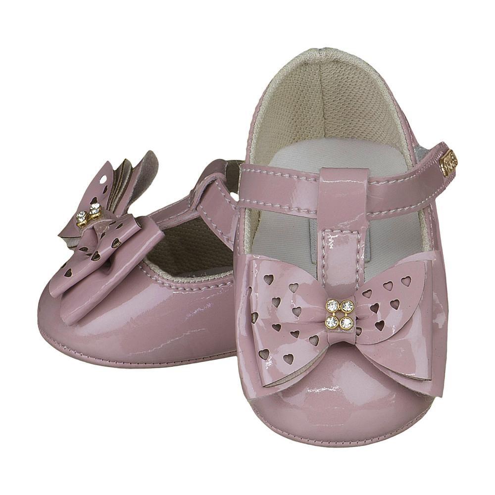 Sapato Boneca Rosê Laço Strass - FOFOPÉ