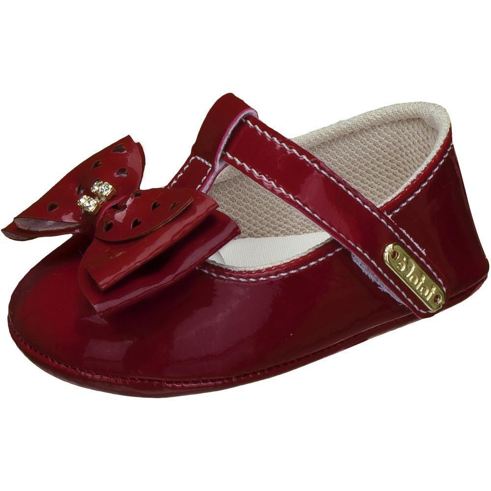 Sapato Boneca Vermelho Laço Strass - FOFOPÉ