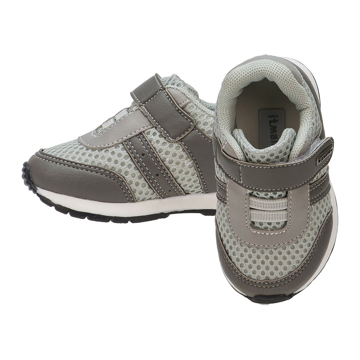 Tênis Bebê Menino Infantil Ponta Velcro cor Chumbo Cinza - Itmalia