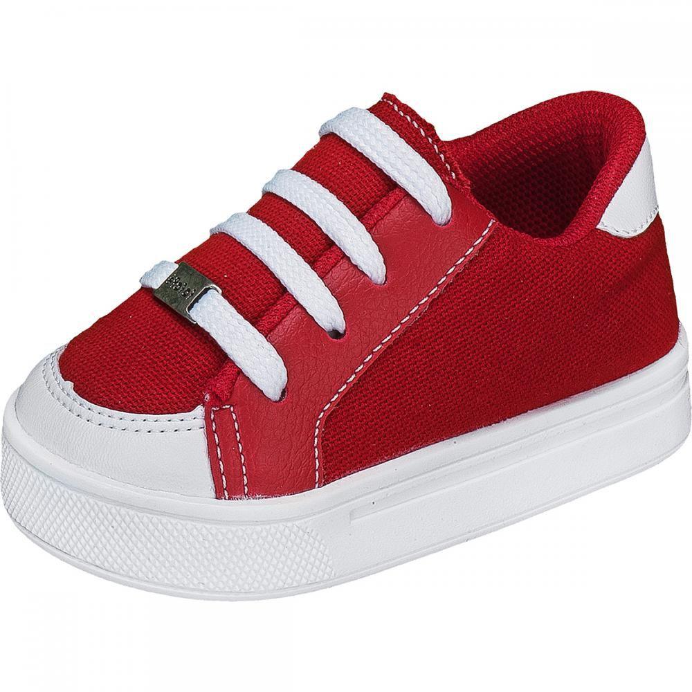Tênis Kids Menino Cadarço Jeans Vermelho - FOFOPÉ