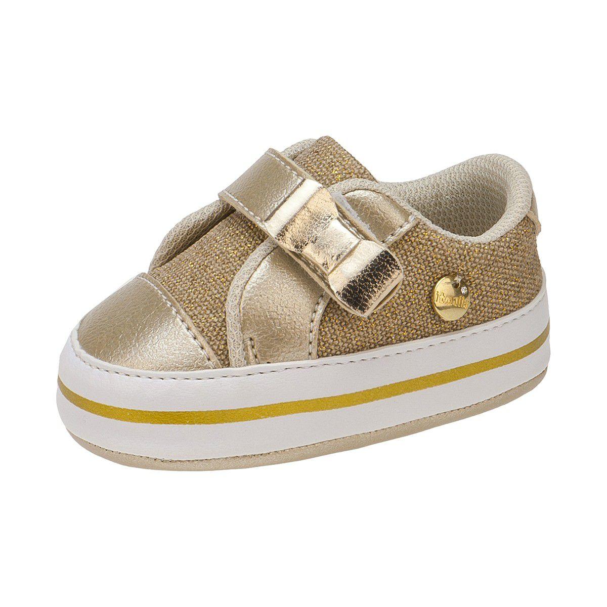 Tênis Revirão Bebê Menina Jeans Dourado - Itmalia