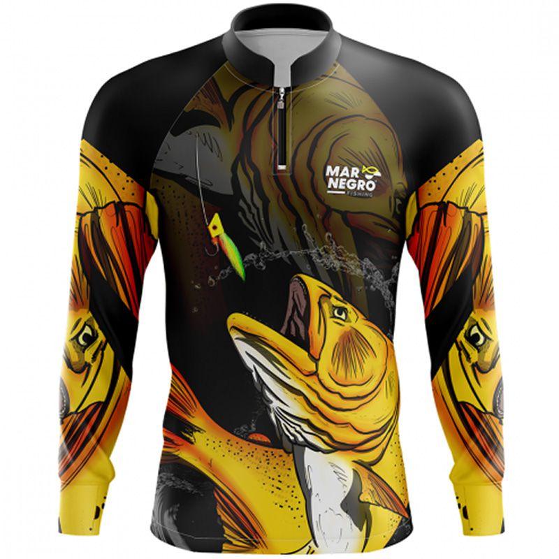 Camiseta de Pesca Mar Negro Dourado (50UV+, Tamanho Especial)