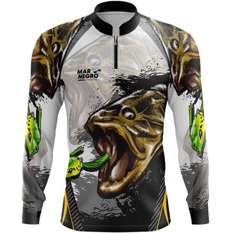 Camiseta de Pesca Mar Negro Traíra (50UV+, Tamanho Especial)