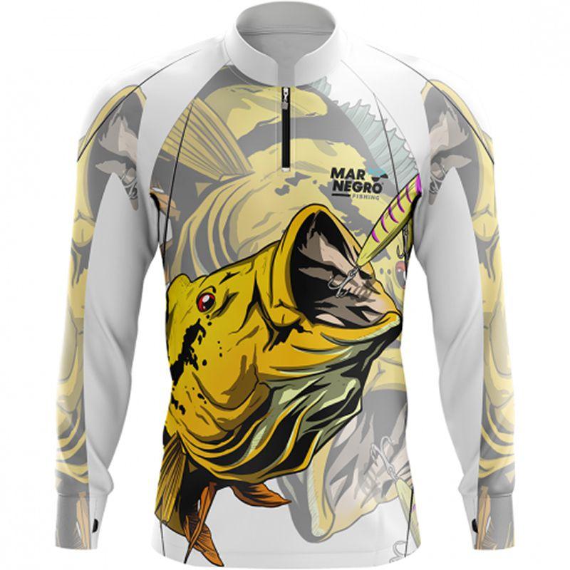 Camiseta de Pesca Mar Negro Tucunaré Amarelo (50UV+, Tamanho Especial)