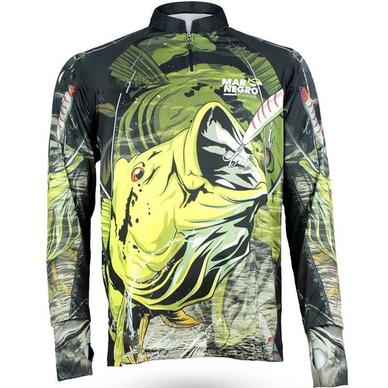 Camiseta de Pesca Mar Negro New Tucunaré (50UV+ Tamanho Especial)