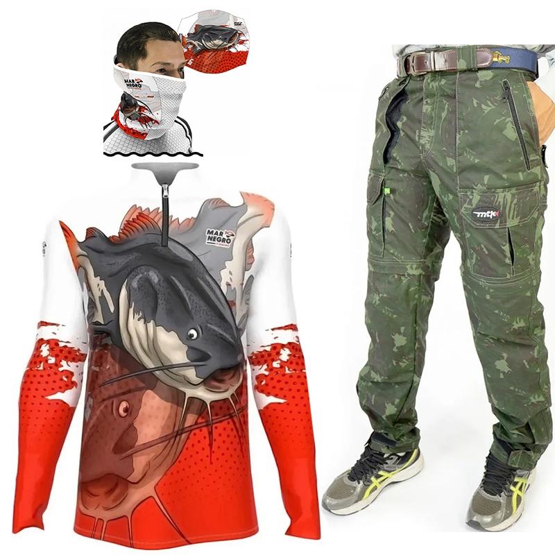 Conjunto Calça Bermuda MTK Amazon, Camisa Pirarara e Protetor de Rosto (Com proteção solar)