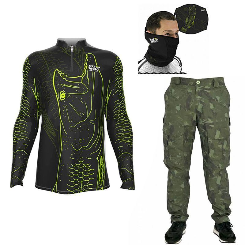 Conjunto Calça Bermuda Mar Negro, Camisa Traíra e Protetor de Rosto (todos com proteção solar)