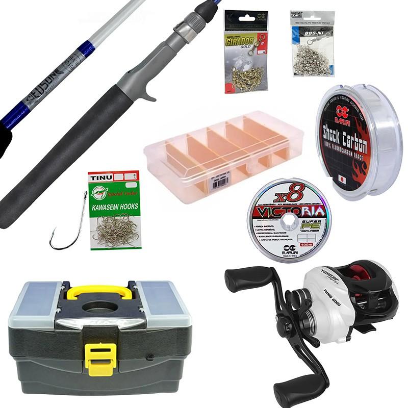 Kit Completo para Pesca de Piapara Vara, Carretilha, Linhas e Acessórios
