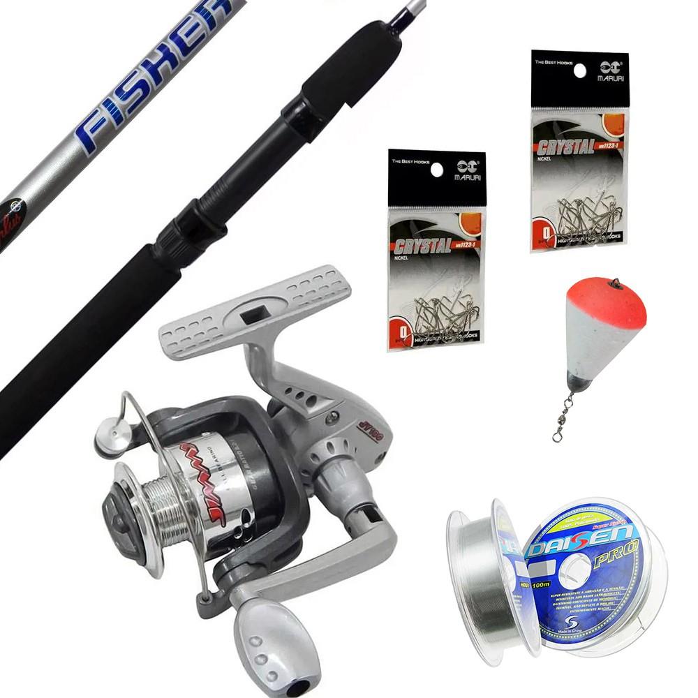 Kit de Molinete Vara e Acessórios para Pesca de Corvina, Porquinho, Piranha e outros