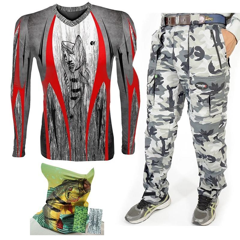Kit MTK com Camiseta Atack Tribal , Calça e Protetor de Rosto (todos com proteção solar)