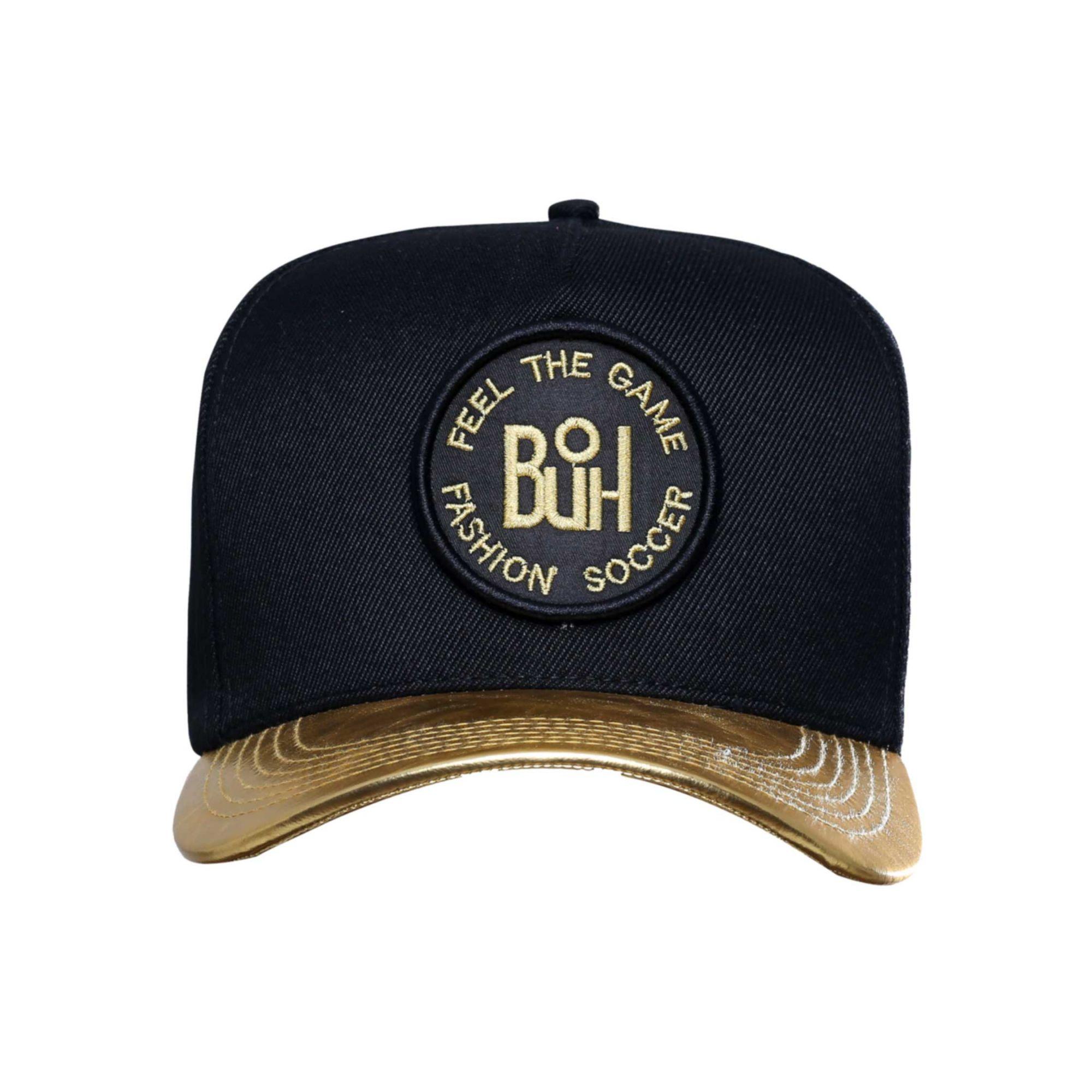 Boné Buh TBT Aba de Couro Black & Gold