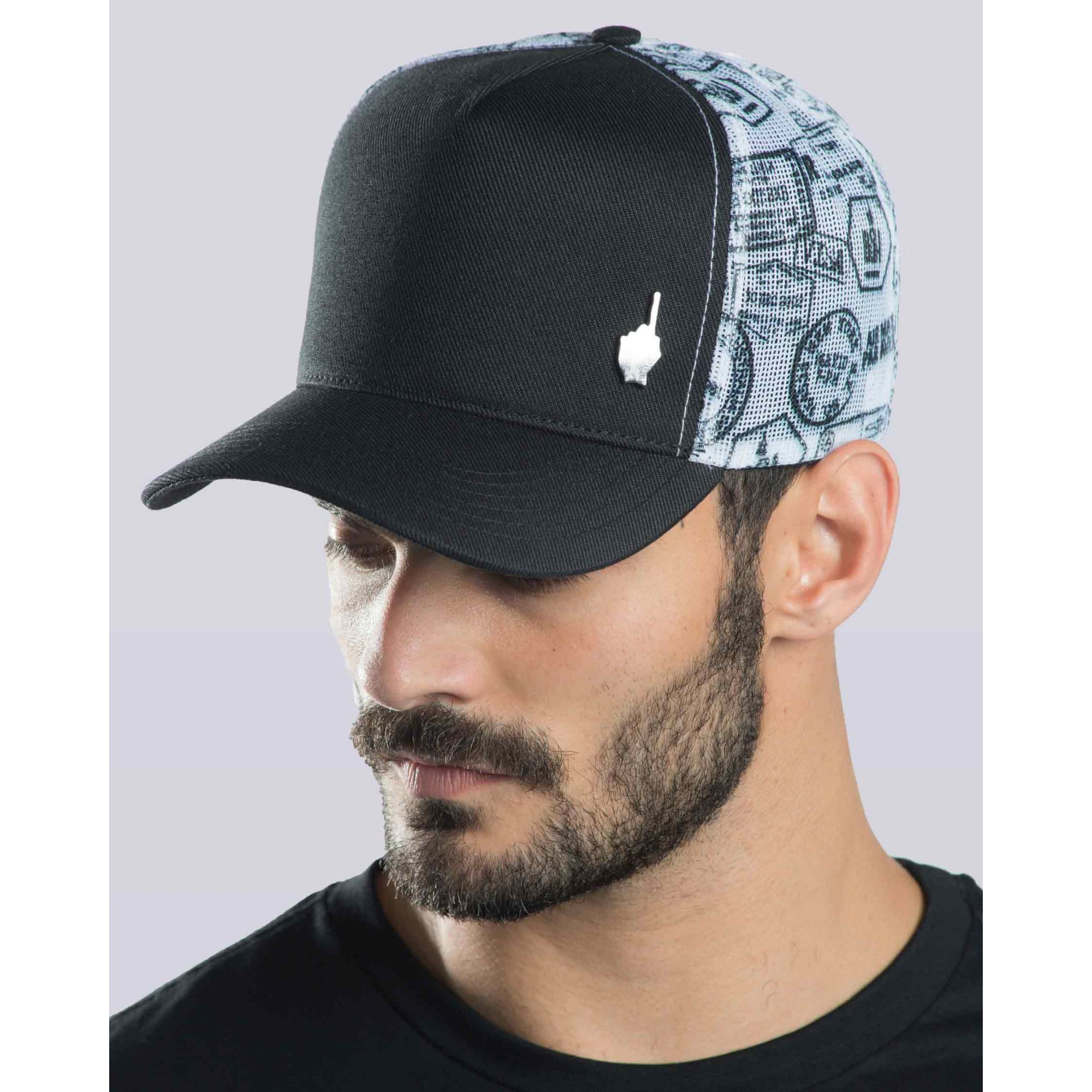 Boné Buh Trucker Stamps Black