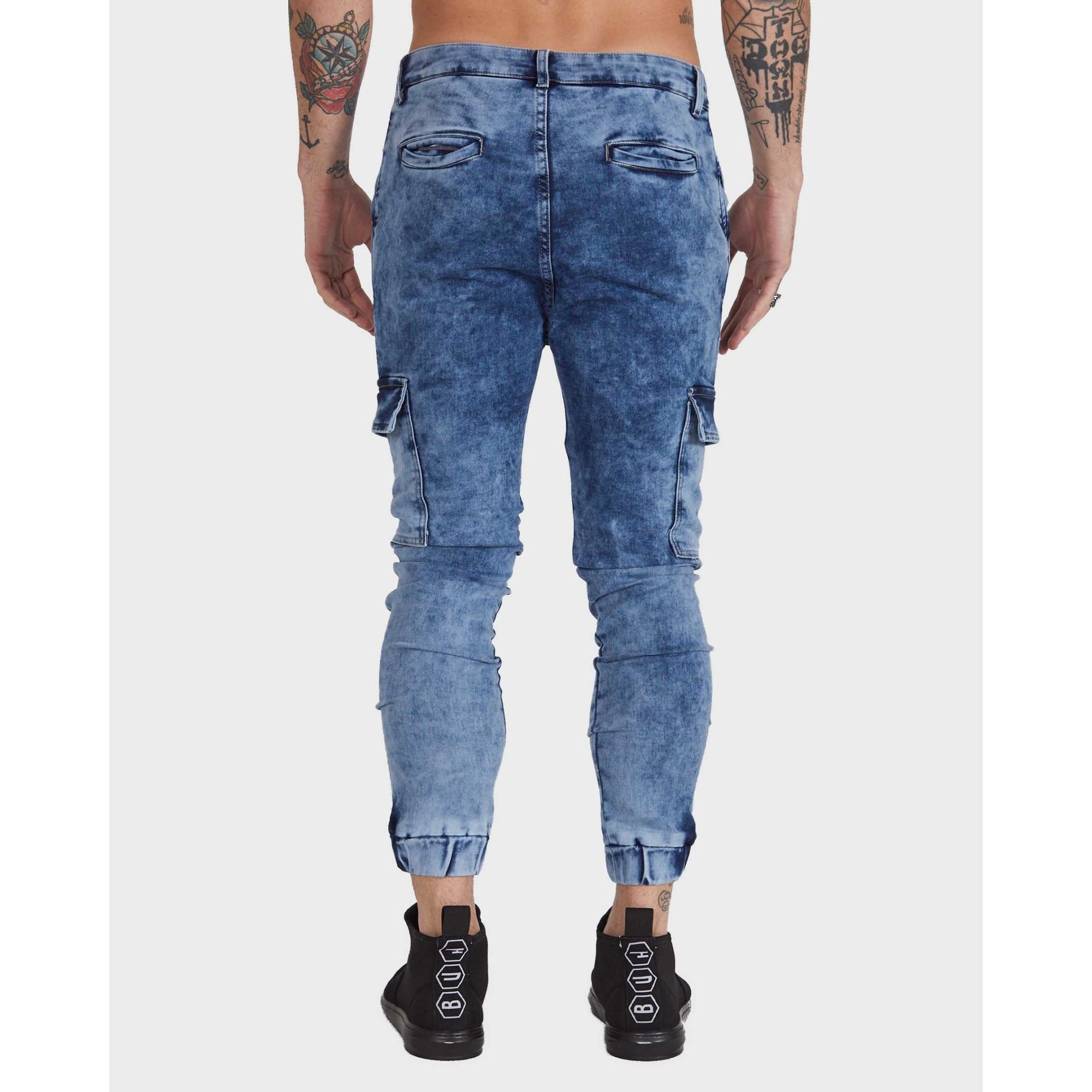 Calça Buh Jeans Jogger Cargo Blue