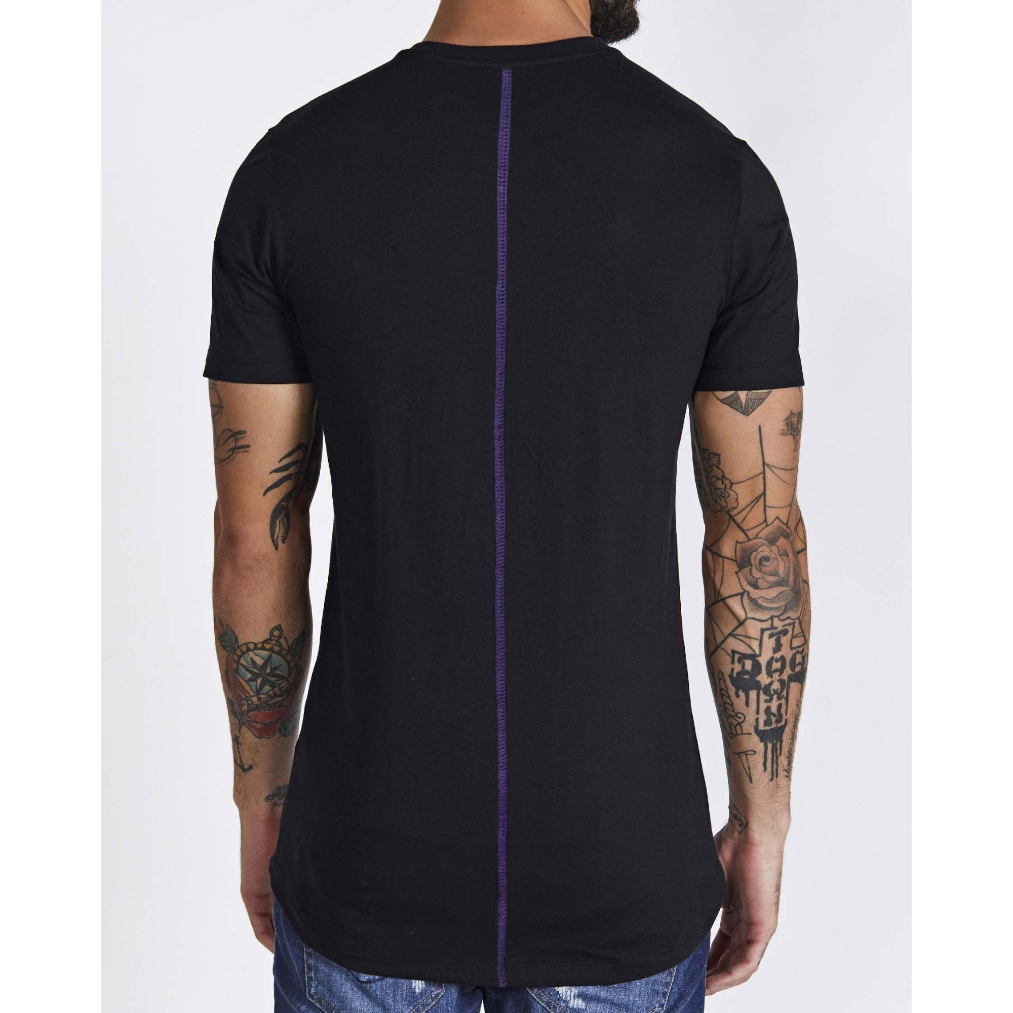 Camiseta Buh Aplique Vinil Black & Purple