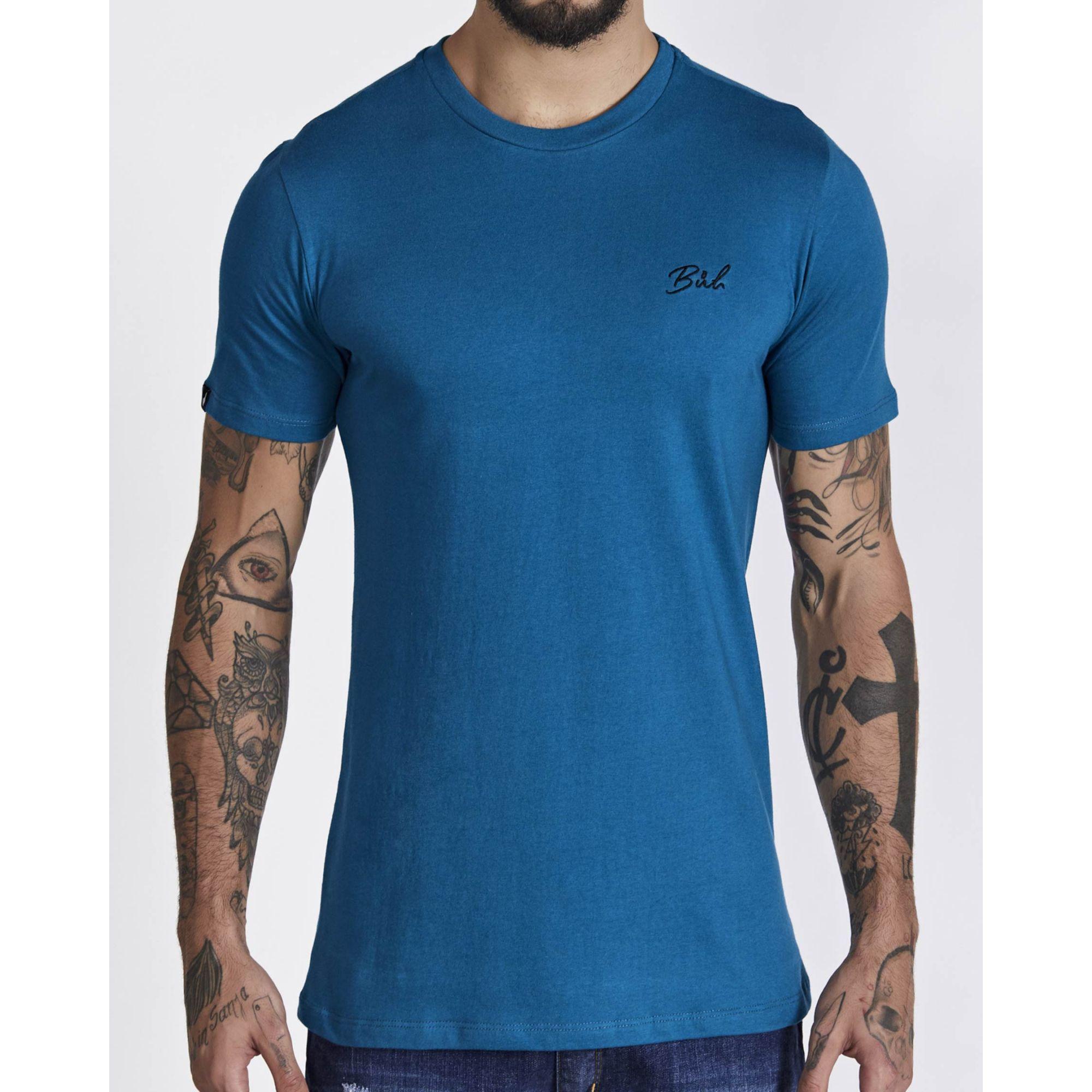 Camiseta Buh Basic Bordada Blue