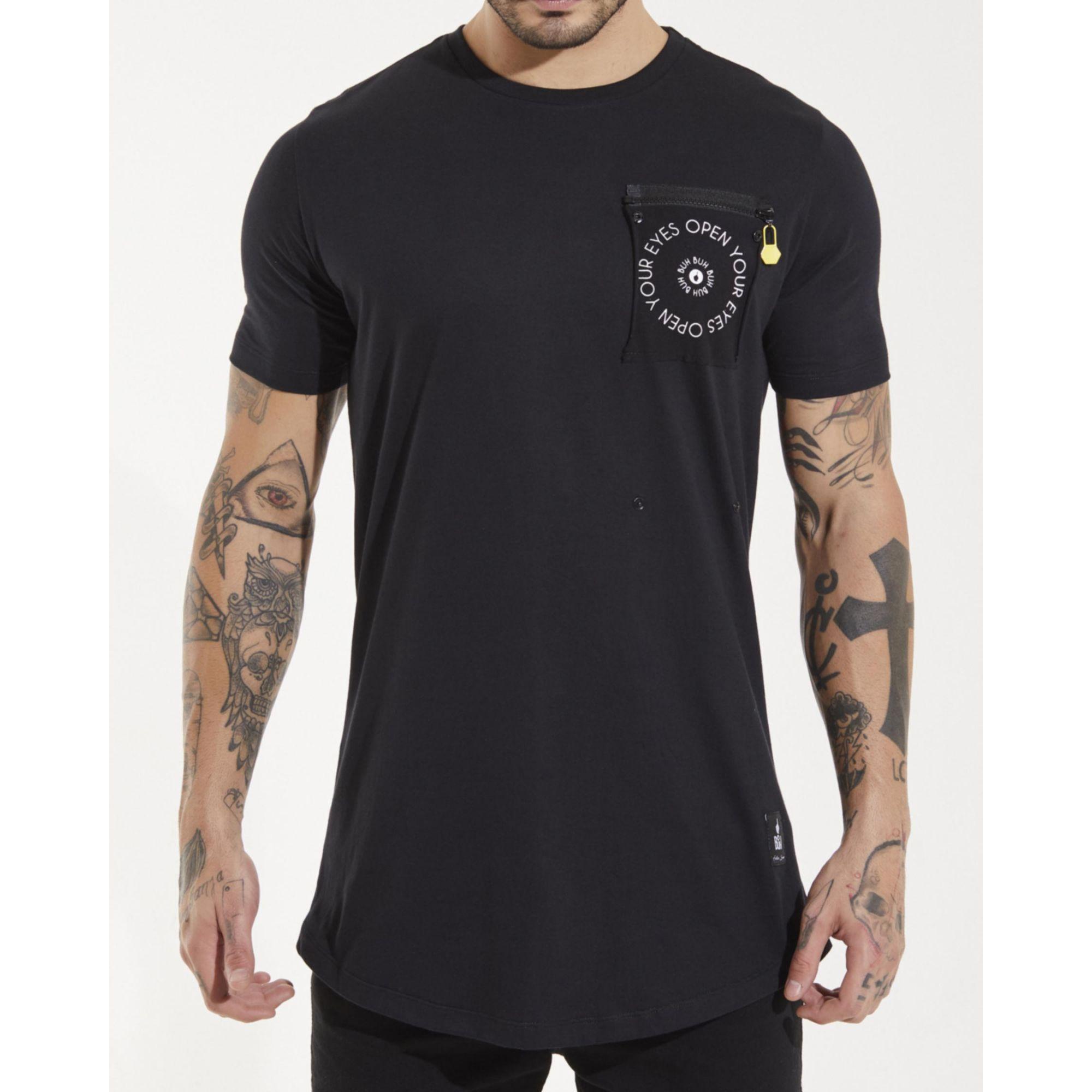 Camiseta Buh Bolso Zíper Black