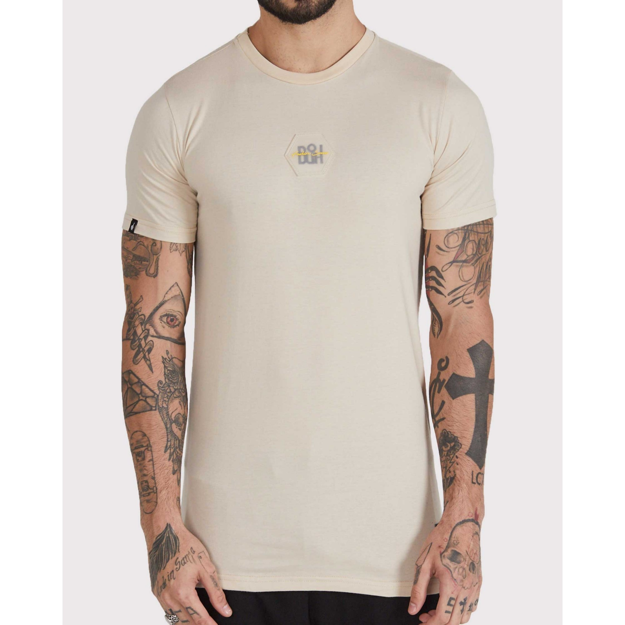 Camiseta Buh Bordado Rubber Bege