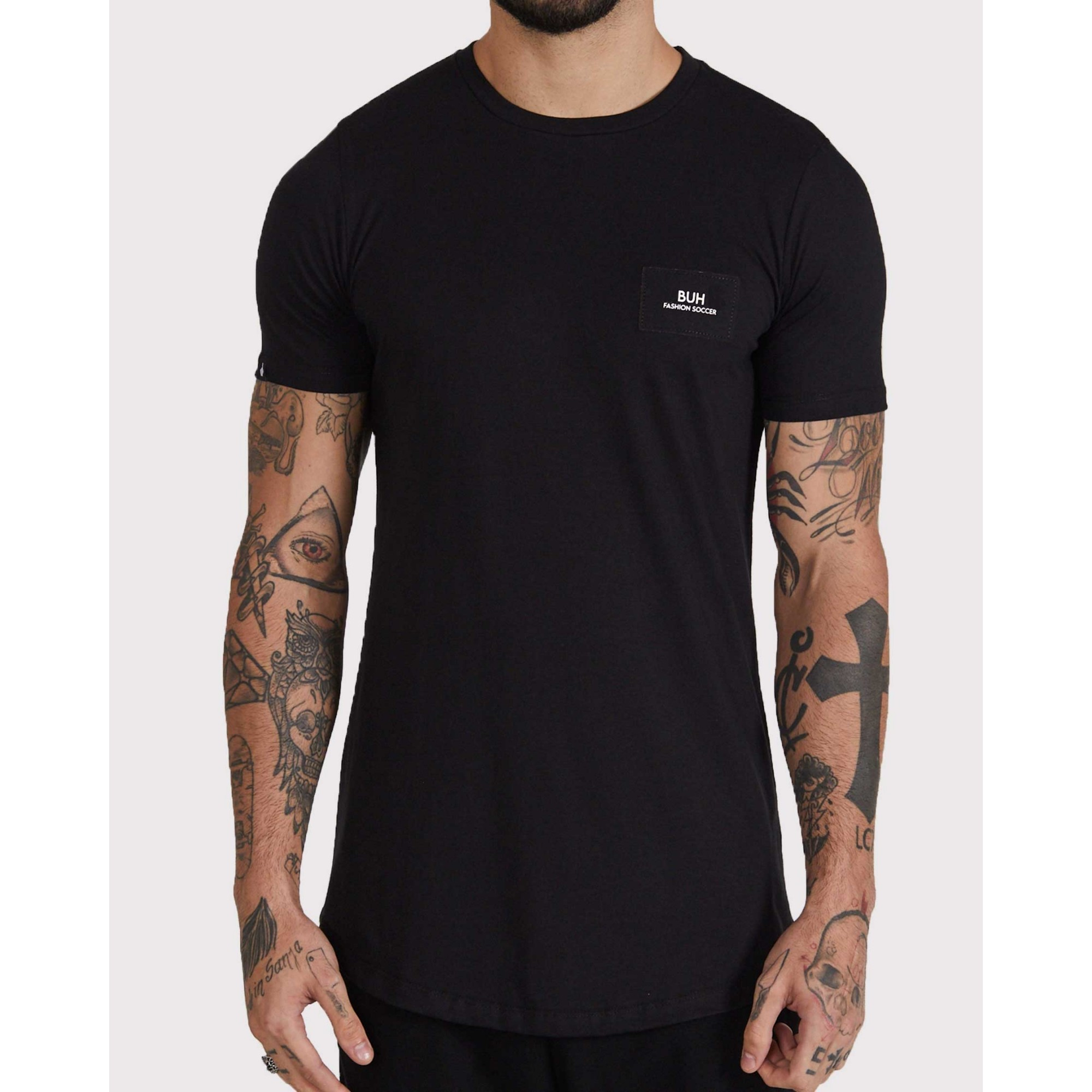 Camiseta Buh Costura Costas Black