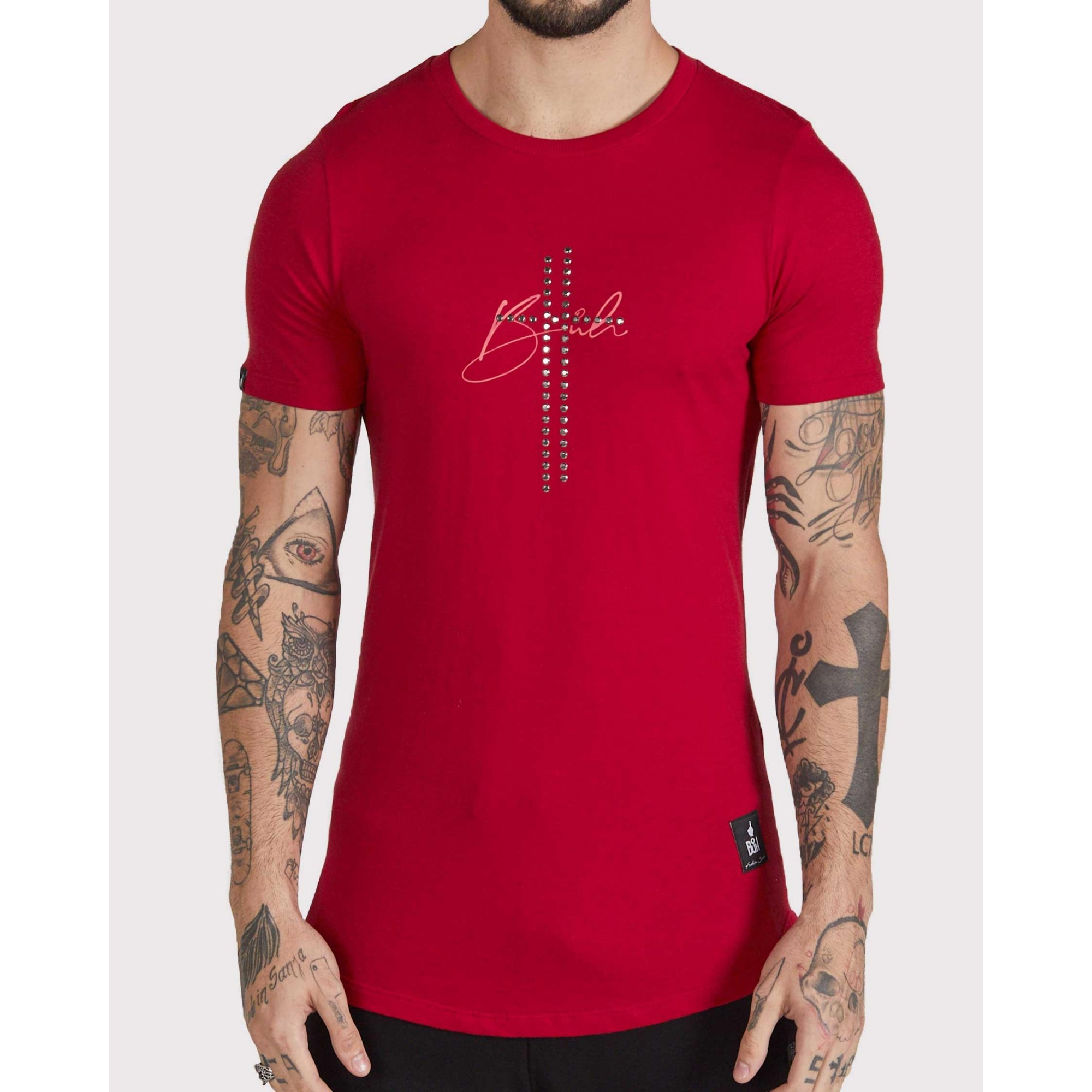 Camiseta Buh Cruz Strass Golden Red