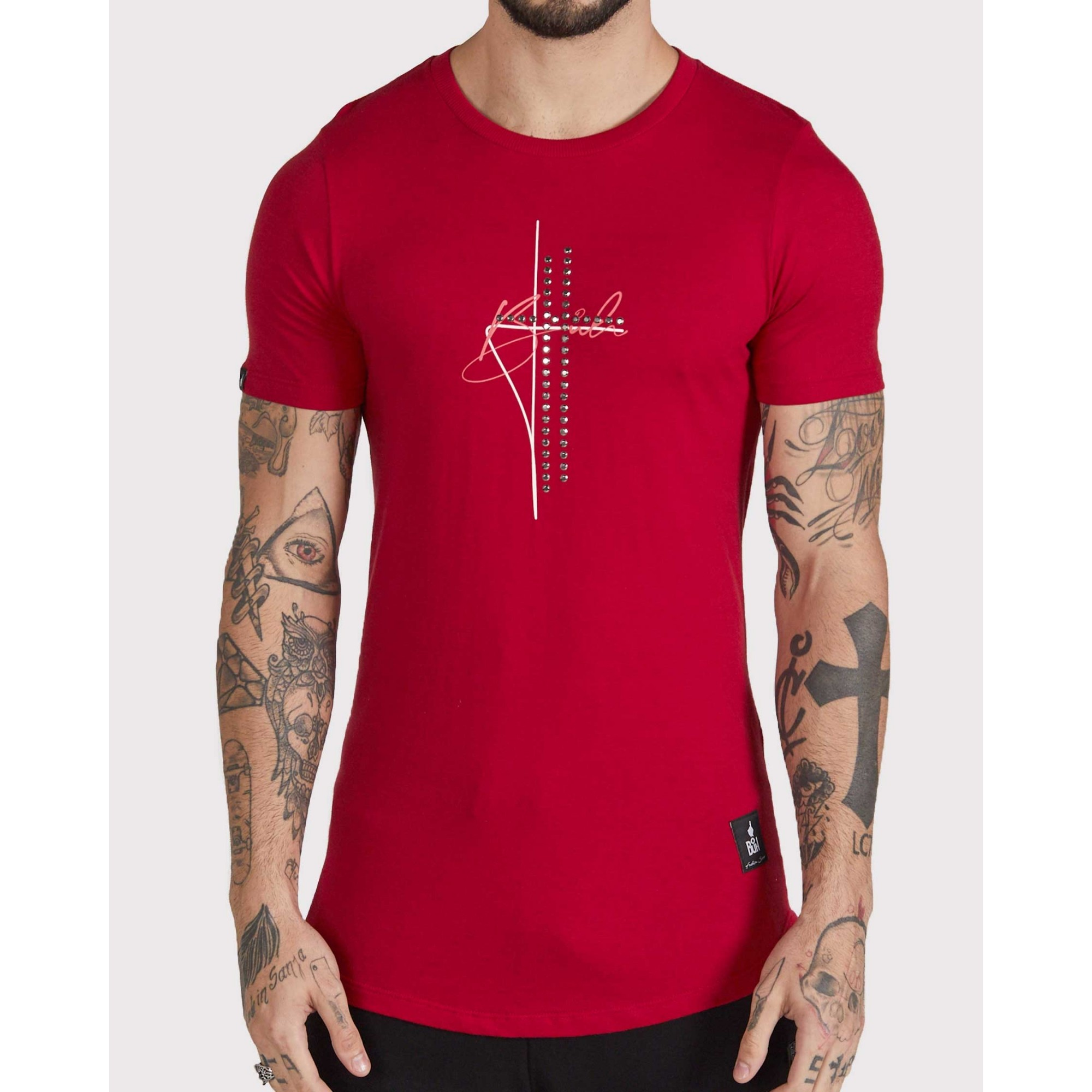 Camiseta Buh Cruz Strass Golden Red
