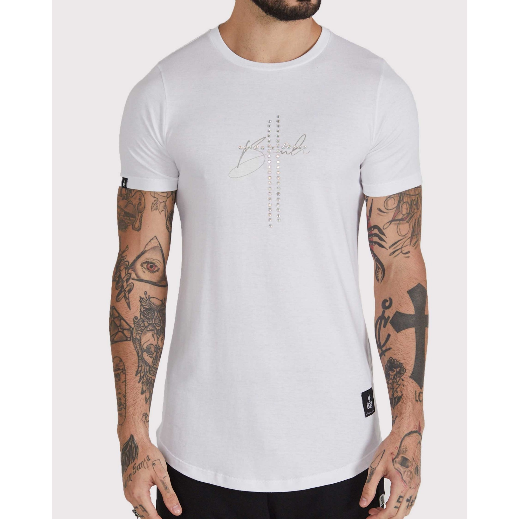 Camiseta Buh Cruz Strass Golden White