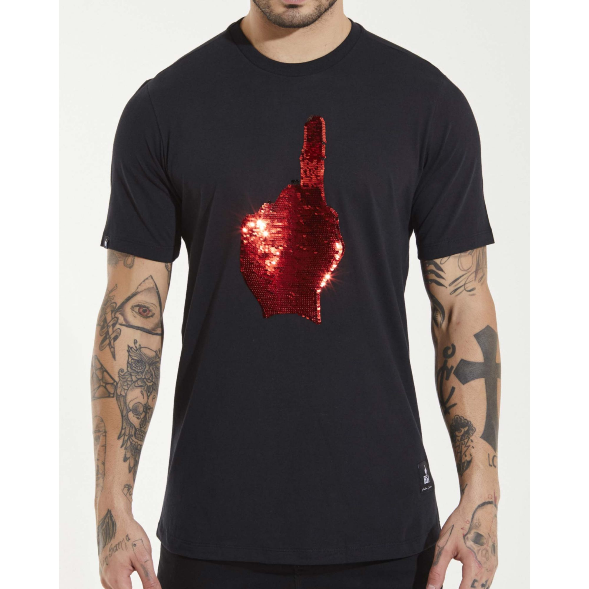 Camiseta Buh Dedo Paetê Black