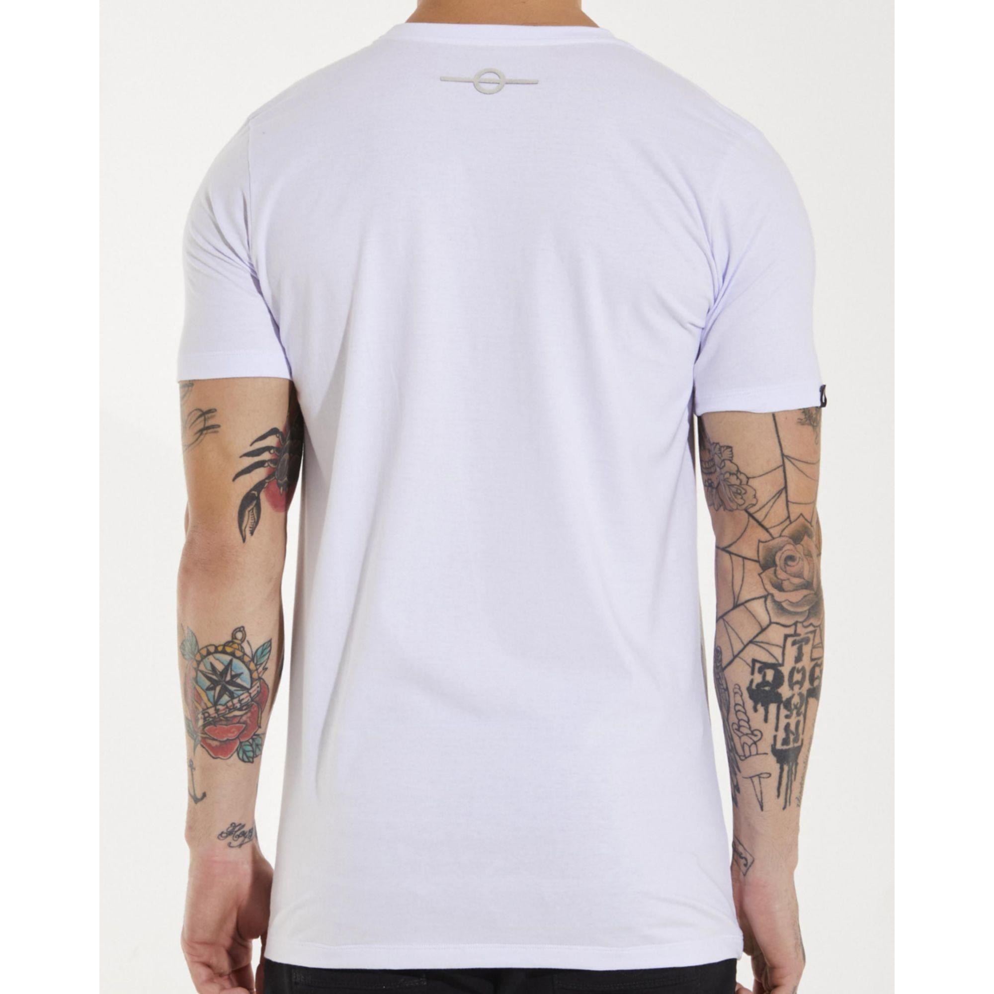 Camiseta Buh Escorrido White & Silver