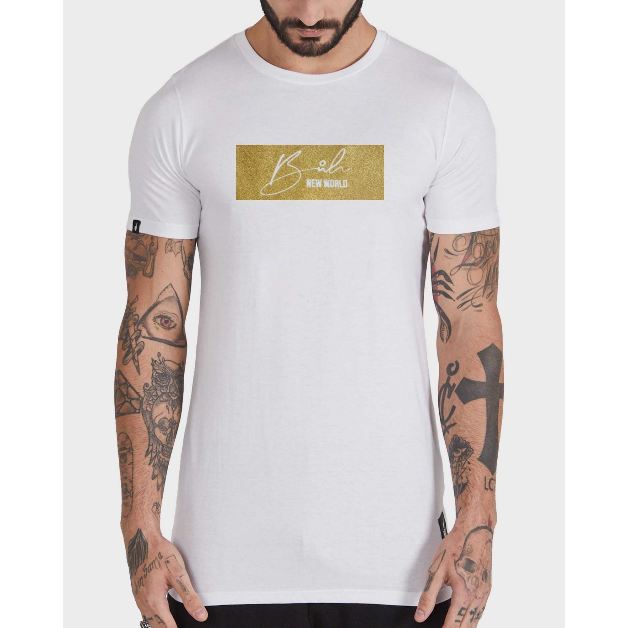 Camiseta Buh Glitter White & Gold